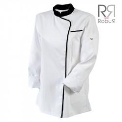 Veste de cuisine femme expression blanc et noir robur