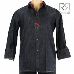 Veste de cuisine homme style chemise jeans