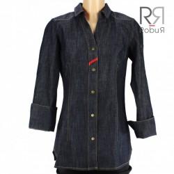 Veste de cuisine style chemise jeans