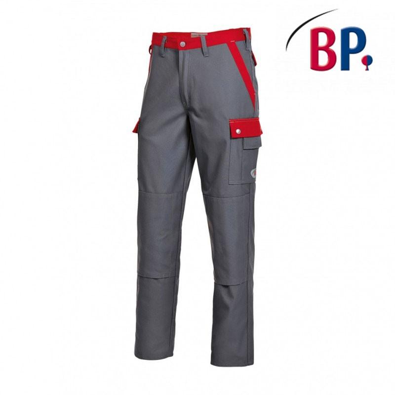 pantalon de travail gris fonce et rouge mulipoches