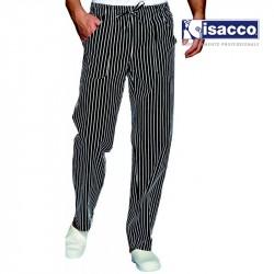 Pantalon de cuisine rayé noir et blanc