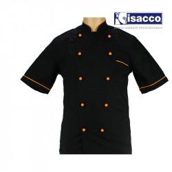 Veste de cuisine noire liseré orange