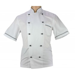 Veste de pâtissier homme blanche liseré noir