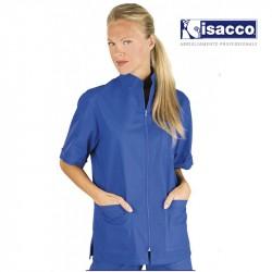 Tunique médicale zippée bleue