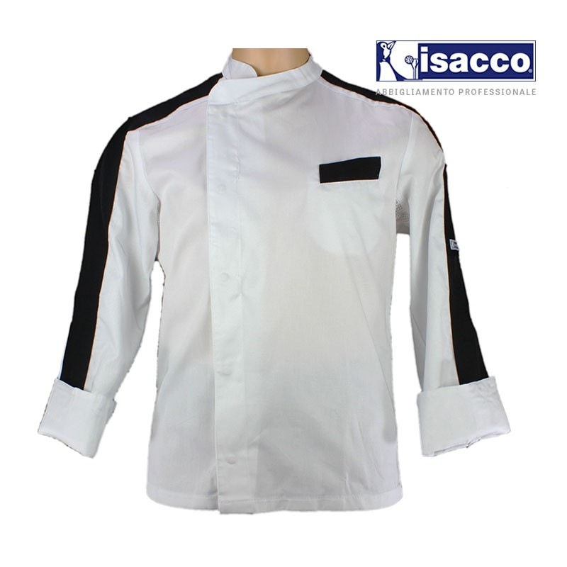 Veste de cuisine homme blanche parement noir