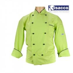 Veste de cuisine pour homme vert anis liseré bleu