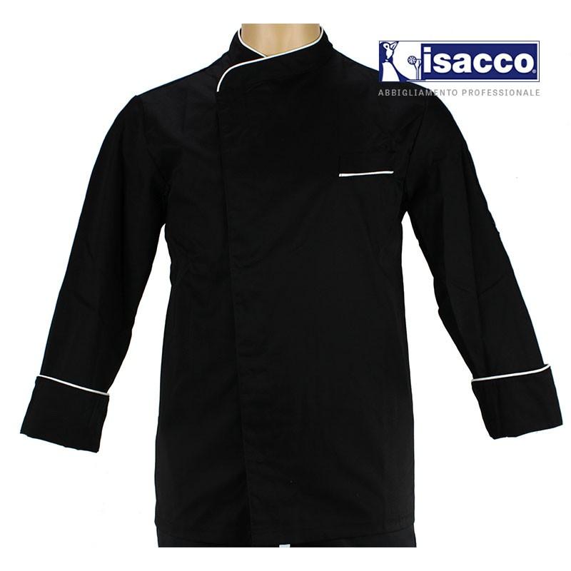 Veste de cuisinier noire et blanc pour homme lisavet - Veste cuisine homme personnalise ...