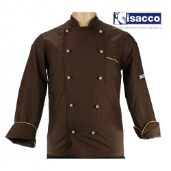 Veste de pâtissier chocolatier marron liseré beige