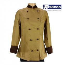 Veste de pâtissier femme, beige et chocolat