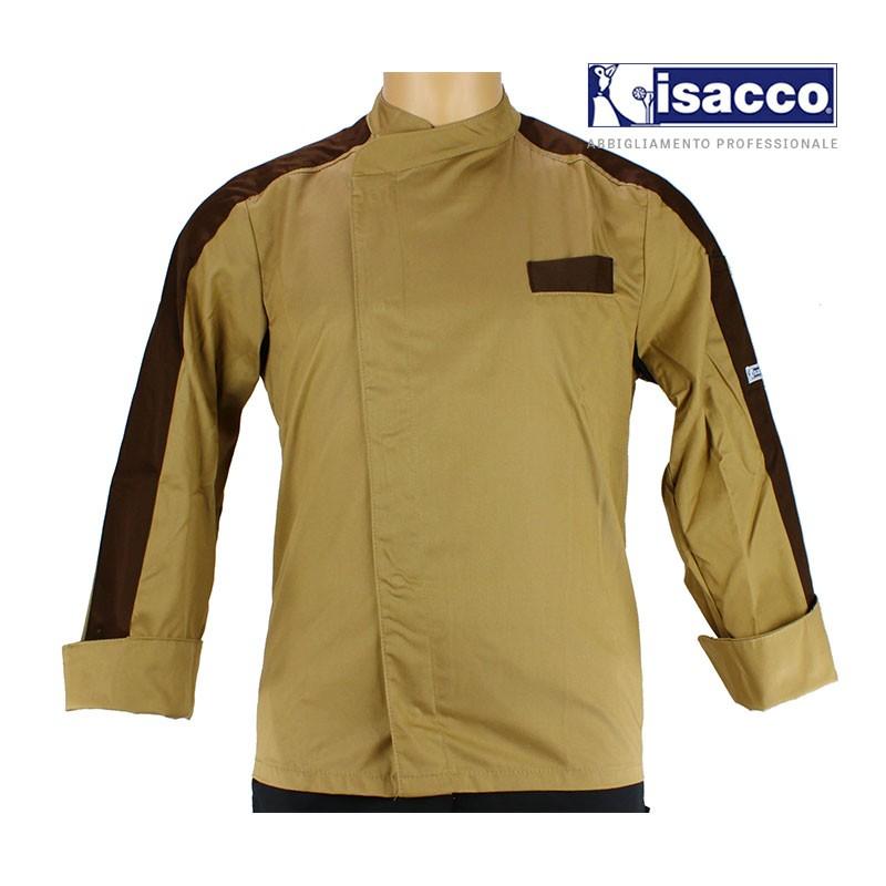 Veste de pâtissier homme beige parement marron