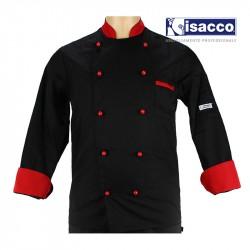 Vêtement de cuisine pour homme noir et rouge