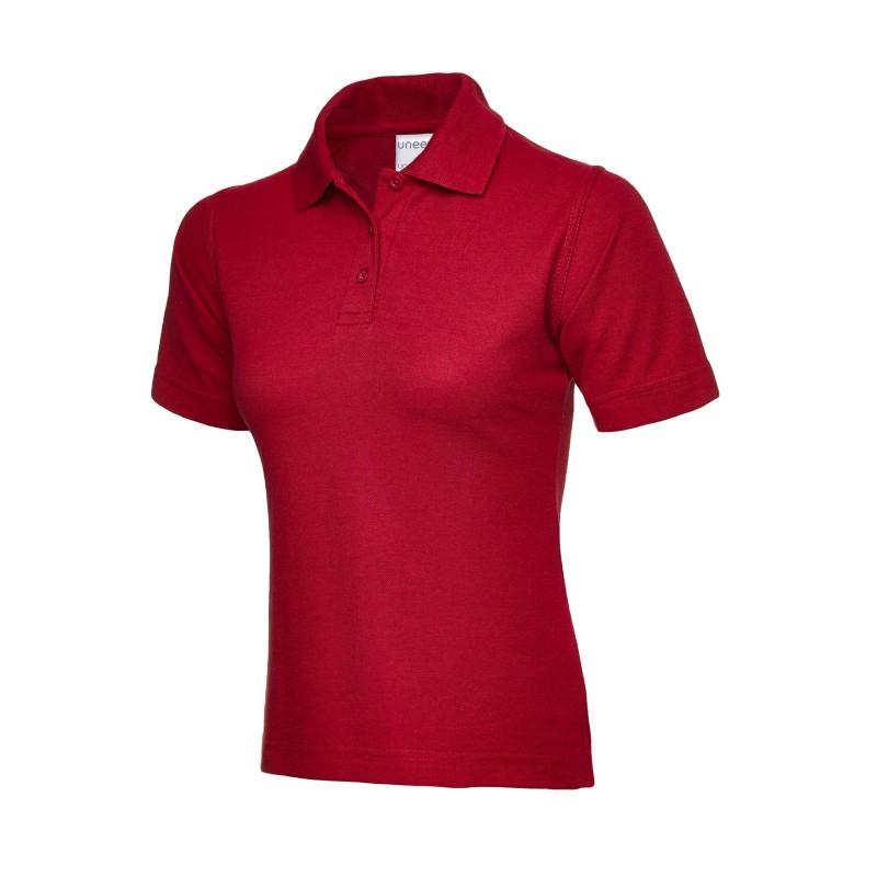 Polo de travail femme rouge coton pas cher