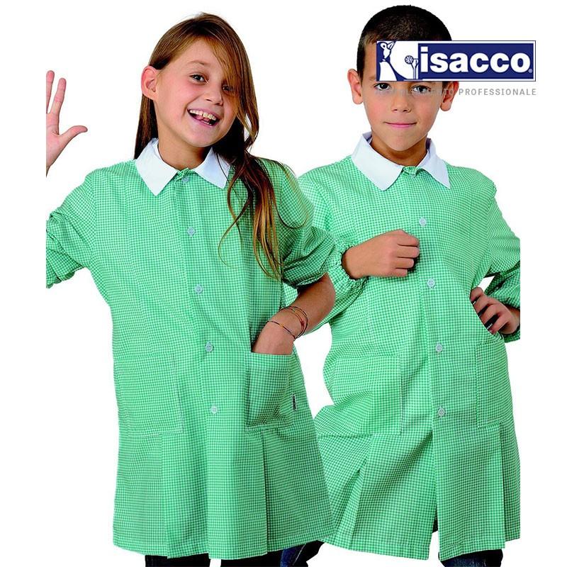 Tablier école fille et garçon vichy vert et blanc
