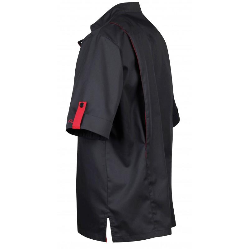 Veste de cuisinier robur pour homme noir et rouge lisavet for Pantalon de cuisine noir