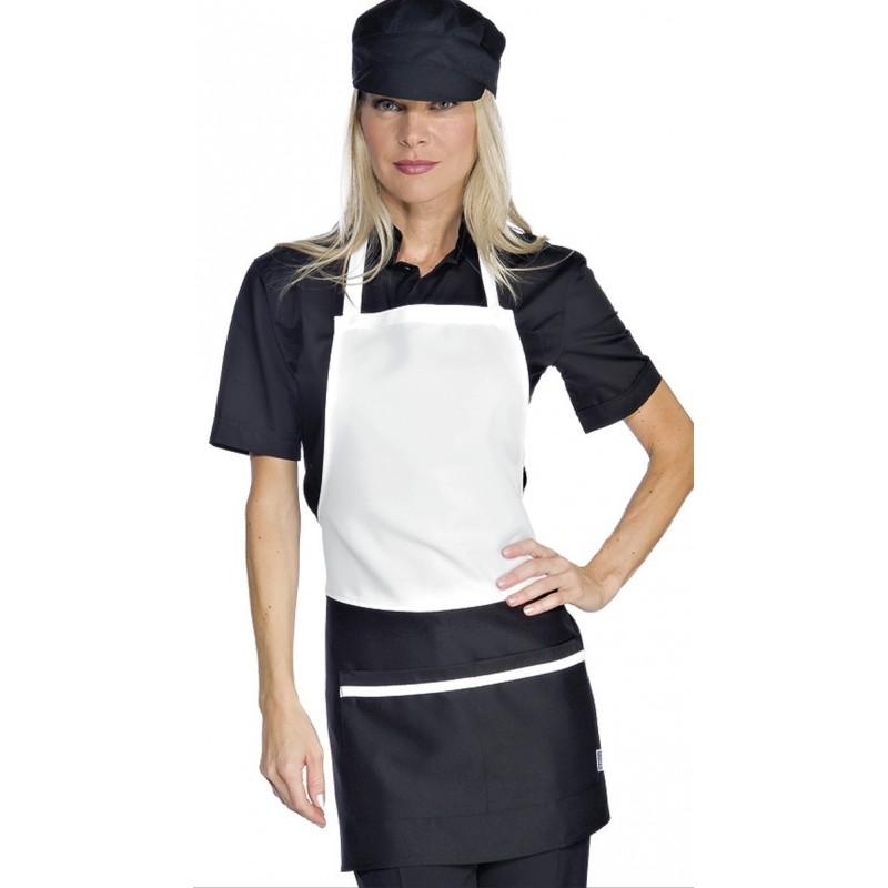 tablier de service bavette blanc et noir pour femme. Black Bedroom Furniture Sets. Home Design Ideas