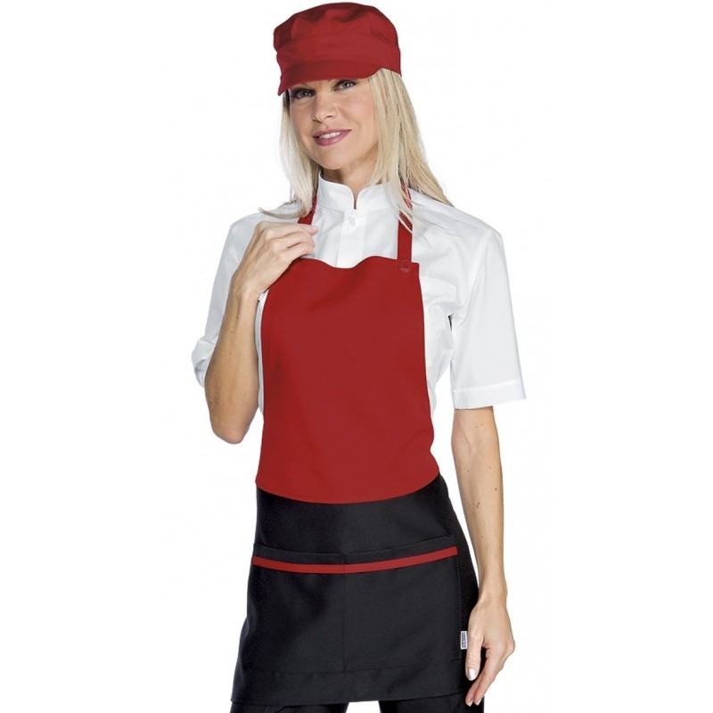 tablier de service bavette pour femme rouge et noir lisavet. Black Bedroom Furniture Sets. Home Design Ideas