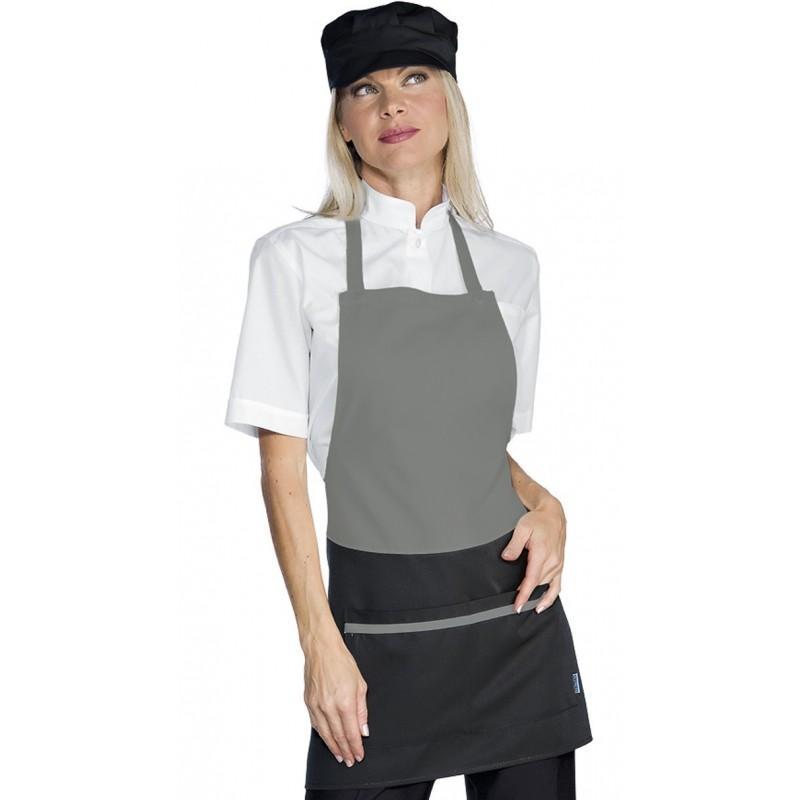 Tablier de service bavette pour femme gris et noir lisavet for Bureau en gros near me