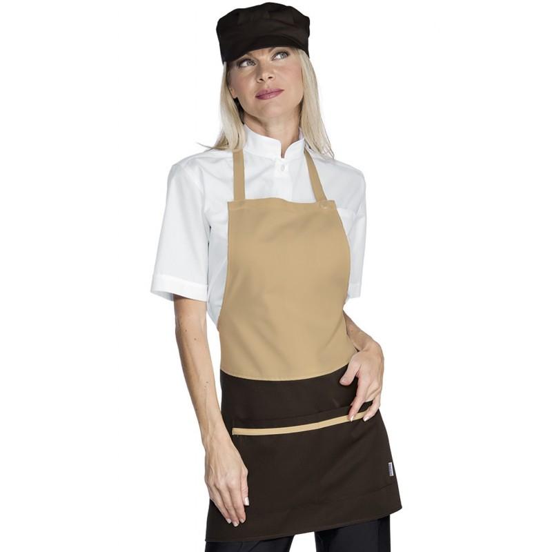 tablier de service bavette femme biscuit et marron lisavet. Black Bedroom Furniture Sets. Home Design Ideas