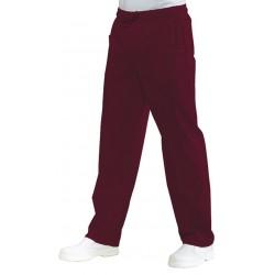 Pantalon de cuisine rouge bordeaux unisexe