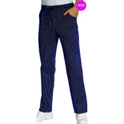 Pantalon professionnel de cuisine bleu rayé