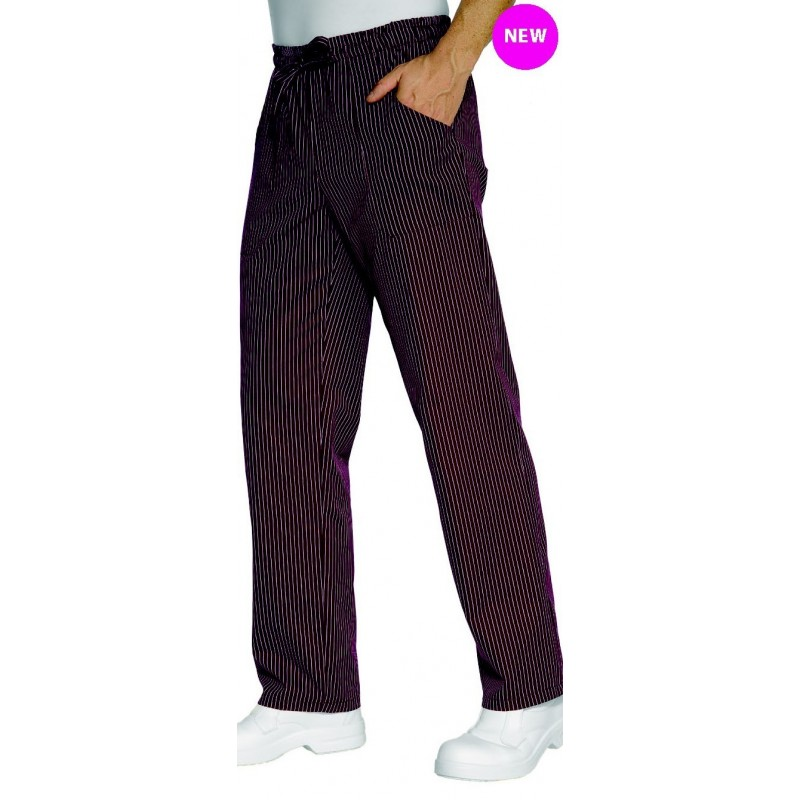 pantalon de cuisine bordeaux ray blanc unisexe lisavet. Black Bedroom Furniture Sets. Home Design Ideas