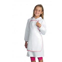 Tablier à bavette pour enfant blanc et rose