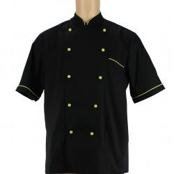 Veste de cuisine noir liseré vert anis