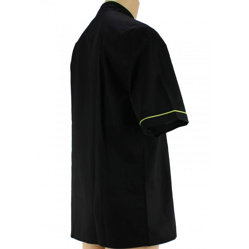 veste noire et verte anis de cuisine manche courte lisavet. Black Bedroom Furniture Sets. Home Design Ideas