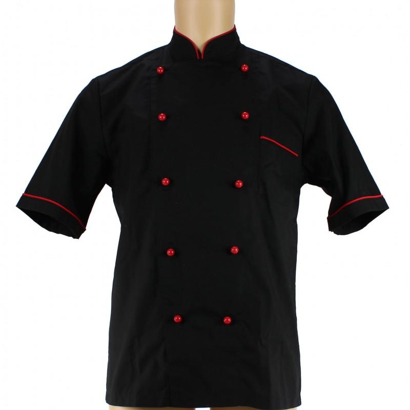 veste de cuisine noire avec liser rouge pour homme lisavet. Black Bedroom Furniture Sets. Home Design Ideas