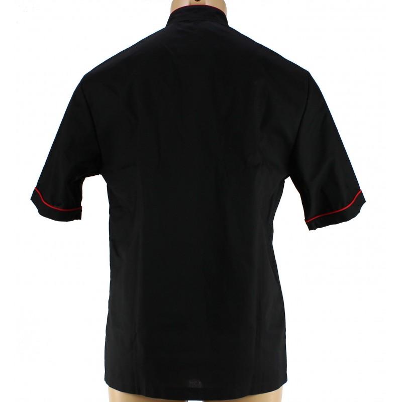 Veste de cuisine noire avec liser rouge pour homme lisavet - Veste de cuisine homme brode ...