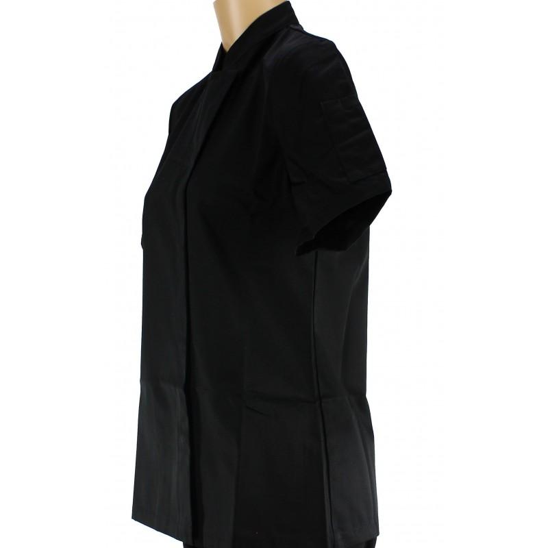 Veste de cuisine noire pour femme manches courtes - Veste cuisine femme manche courte ...