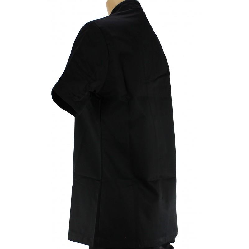 veste de cuisine noire pour femme manches courtes. Black Bedroom Furniture Sets. Home Design Ideas