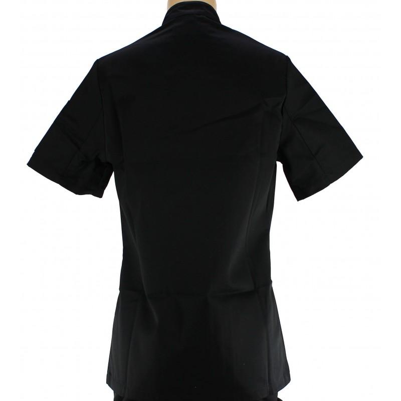Veste de cuisine noire pour femme manches courtes for Pantalon de cuisine noir