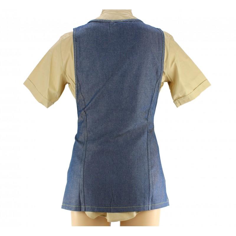 tablier de service en coton pour femme coloris jeans lisavet. Black Bedroom Furniture Sets. Home Design Ideas