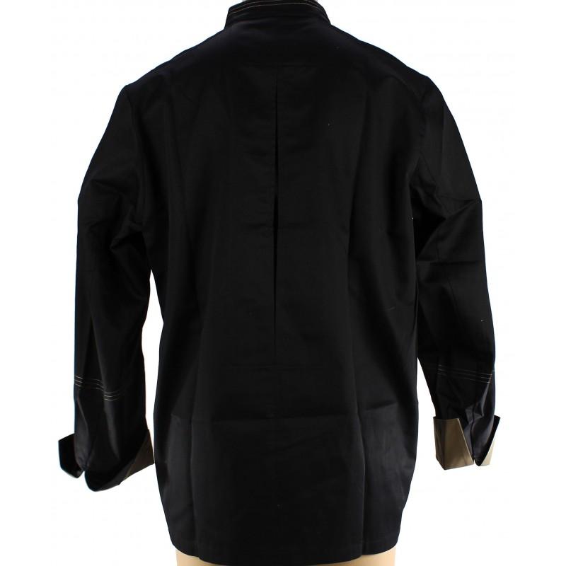 veste de cuisine noire et taupe confortable et respirante