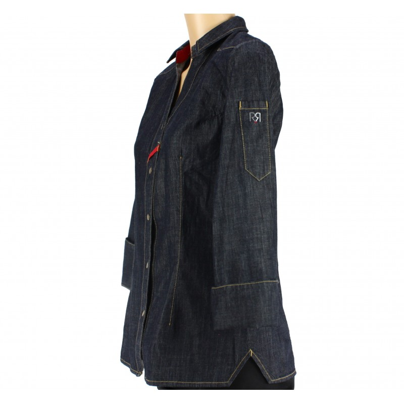 veste de cuisine femme style chemise jeans lisavet. Black Bedroom Furniture Sets. Home Design Ideas
