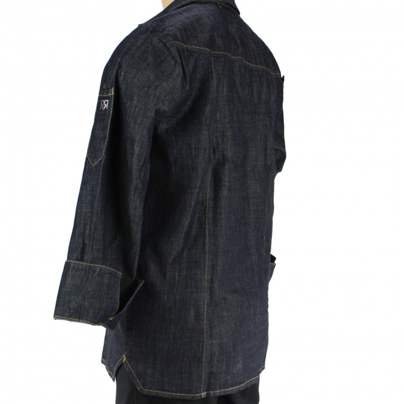 Veste de cuisine homme style chemise en jeans - Veste de cuisine homme brode ...