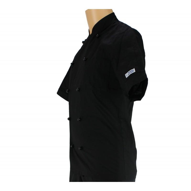 Veste de cuisine noir manche courte et l g re pour homme for Veste de cuisine manche courte