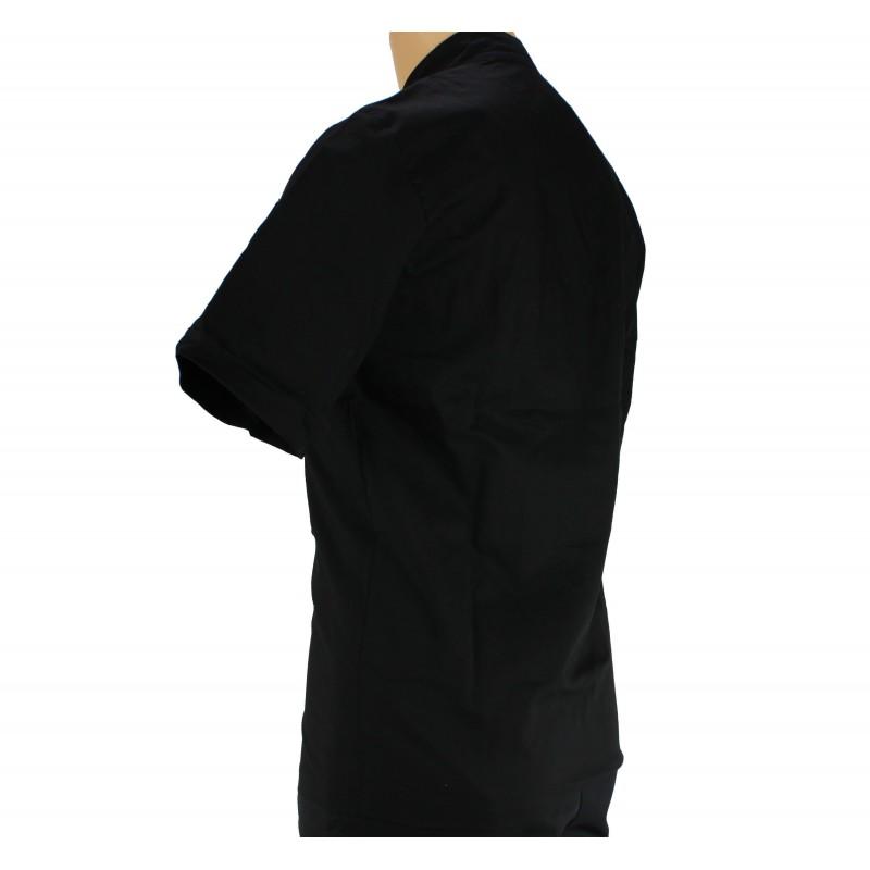 Veste de cuisine noir l g re manche courte homme lisavet - Veste de cuisine homme brode ...