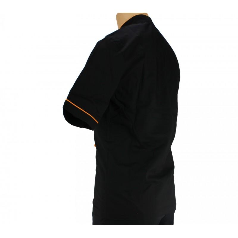 veste de cuisine noire liser orange - Veste De Cuisine Orange