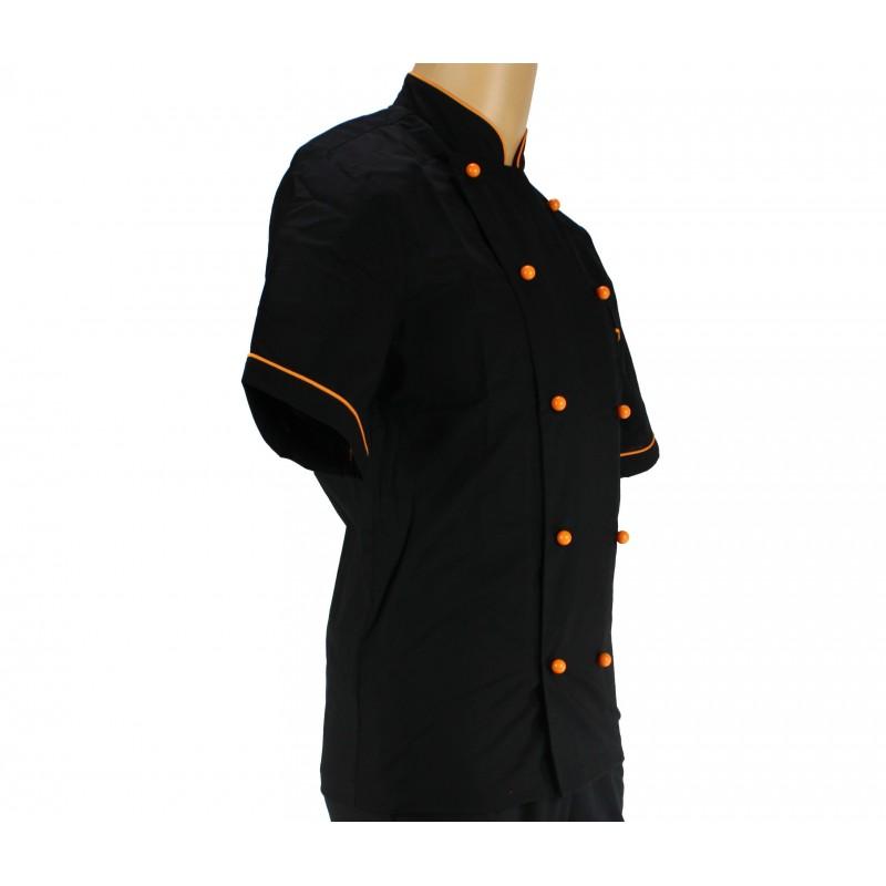 Vêtement de cuisine noir avec un liseré orange - LISAVET