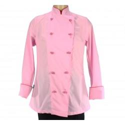 Veste de cuisine pour femme rose et fuschia