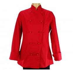 veste de cuisine femme rouge