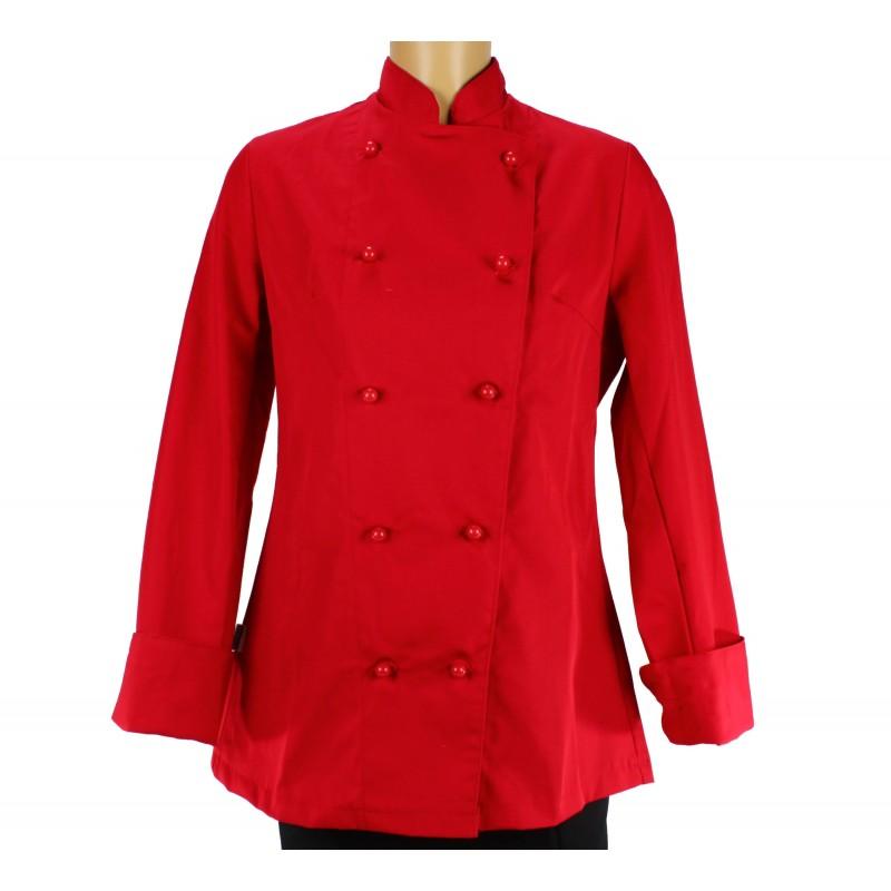 Veste de cuisine femme rouge manche longue lisavet for Veste de cuisine