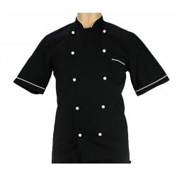 Veste de cuisine noire liseré blanc