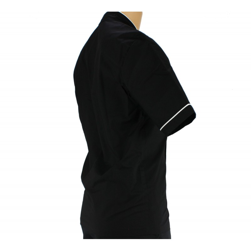 Veste de cuisine noir et liser blanc bouton homme lisavet - Veste de cuisine homme brode ...
