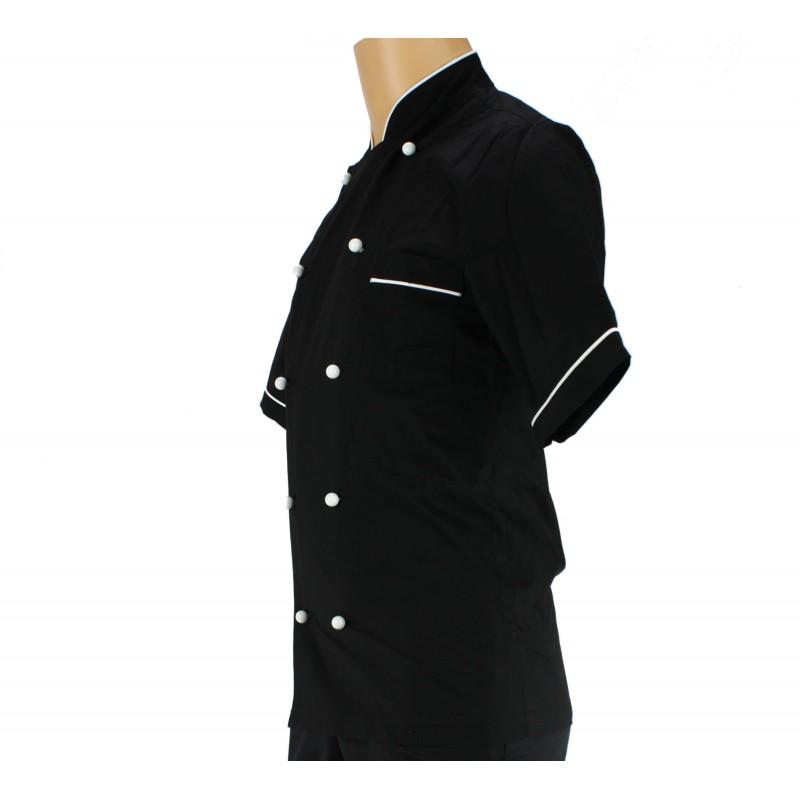 Veste de cuisine noir et liser blanc bouton homme lisavet for Veste de cuisine homme brode