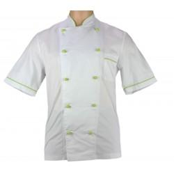Veste de pâtissier blanche liseré vert anis