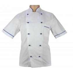 Veste de pâtissier blanche liseré bleu France
