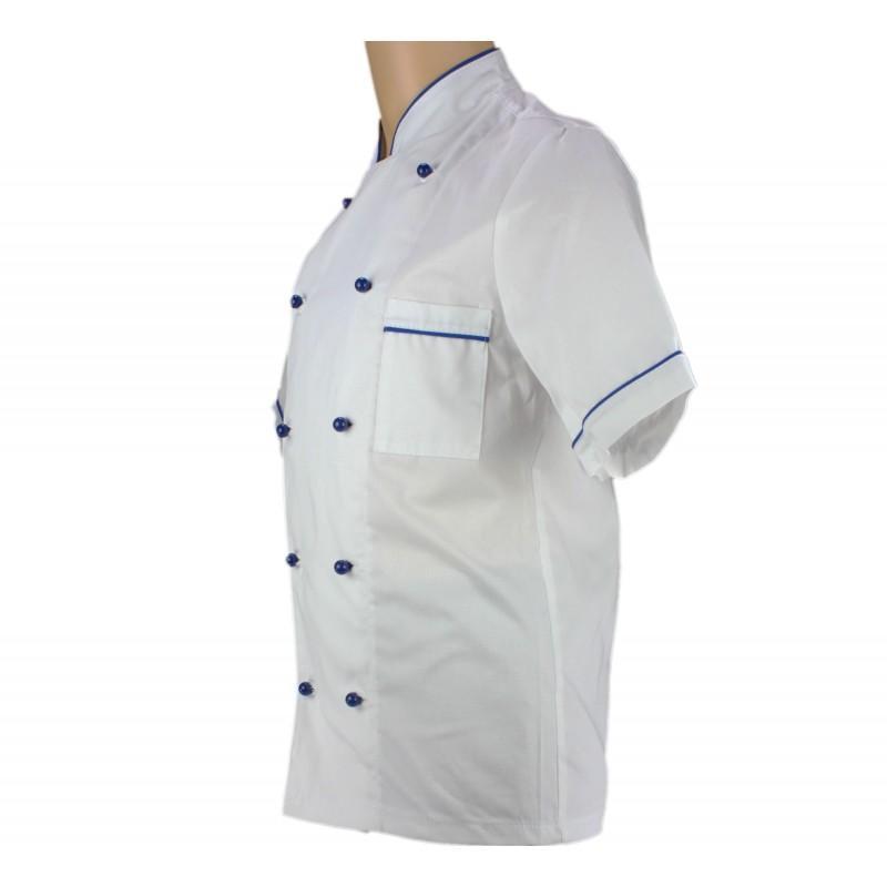 Veste de p tissier blanche avec liser bleu france lisavet - Veste de cuisine homme brode ...